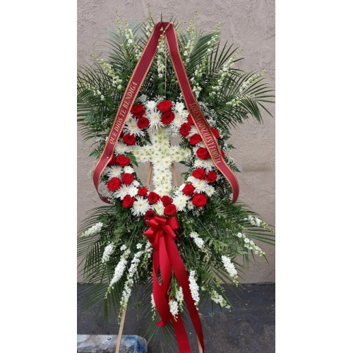 Wreath and Cross  Standing Spray