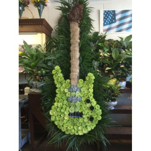 Green Guitar Standing Spray