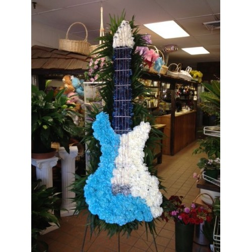 Blue and White Guitar Standing Spray