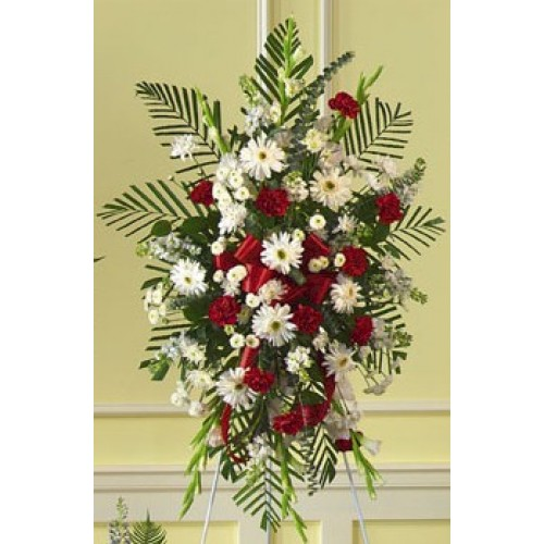 White and Red Rose Standing Spray