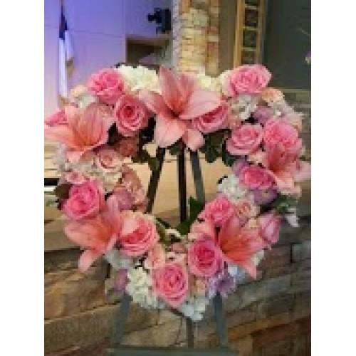 Pink Heart Wreath
