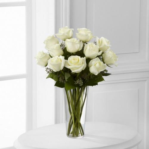 White Roses Vase