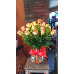 Yellow roses with red Tip
